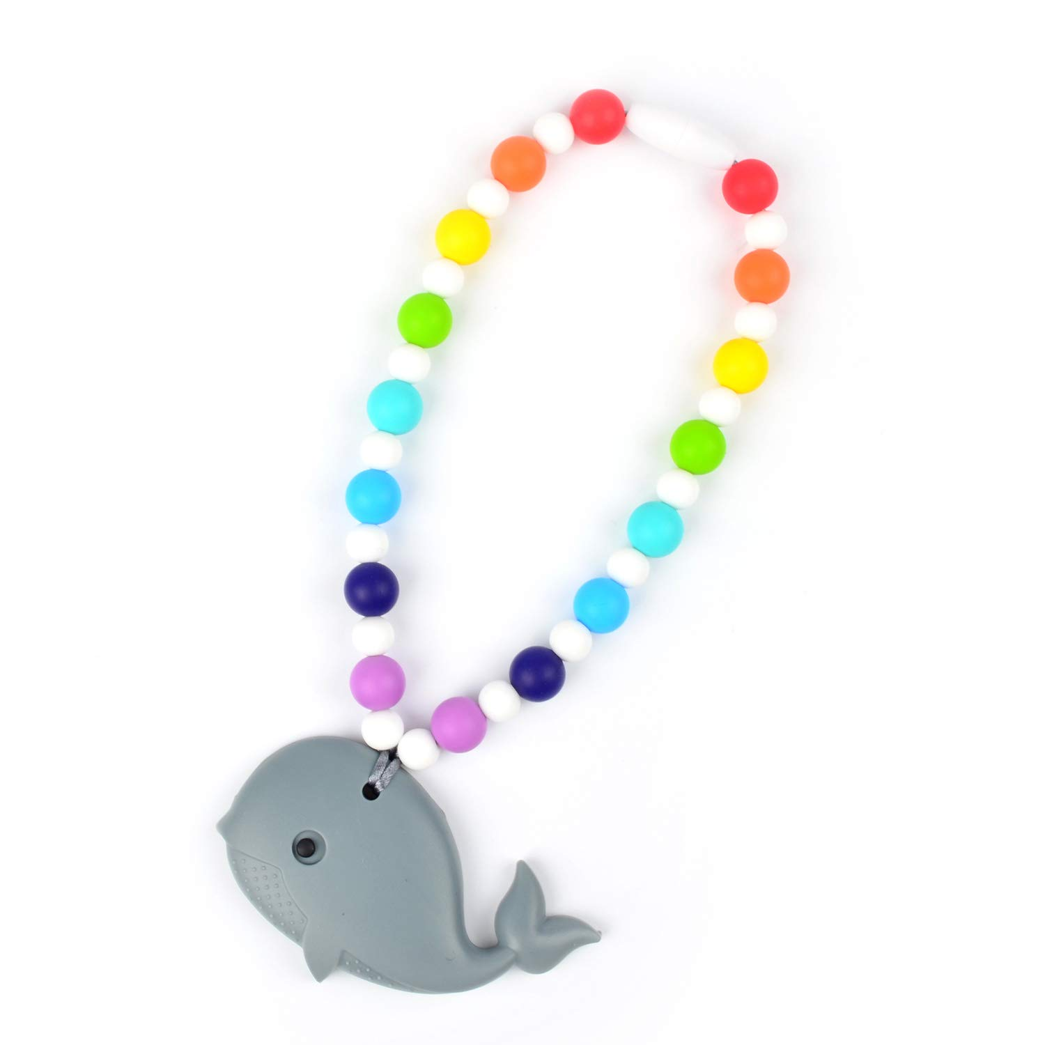 Stroller or Diaper Bag Car Seat Nummy Beads Rainbow Gray Whale Teether Toy Attaches to Baby Carrier High Chair