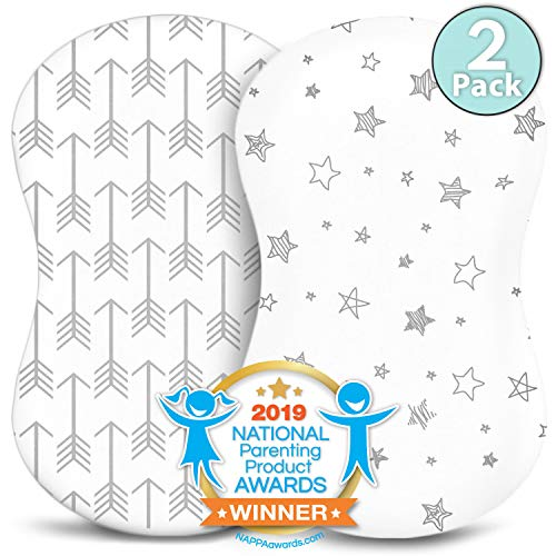Bassinet Sheets - Fitted, Premium Jersey Cotton - Baby Bedside Sleeper Cover - Universal Sheet Set for Rectangle, Oval, or Hourglass Bassinet Mattress - White 2 Pack for a Girl or Boy - Arrow Stars ()