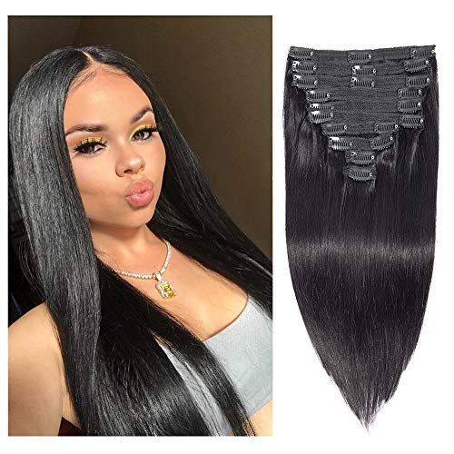 Brazilian Virgin Human Hair Grade 8A Straight Clip In Hair Extensions for Black Women 120g 10Pcs/set for Full Head Thick Double Weft 1B Natural Black Alina Hair (26, Straight)