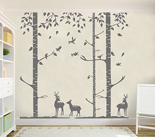 N.SunForest Removable 6ft Birch Tree Wall Decals Nursery Decal Forest Vinyl Sticker With Bird and Deer For Bedroom or Any Room, Gray