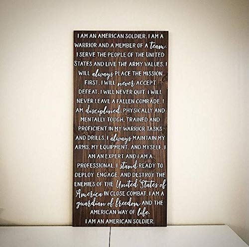 - CELYCASY Custom Wood Sign - United States Army Soldier's Creed Wooden Saying - Customizable Handcrafted 24x48 U.S. Military Plank - Wood Sign Shop