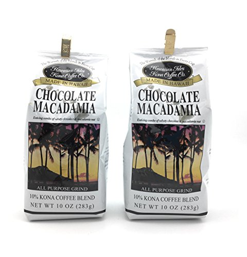 Hawaiian Isles 10% Kona Blend Gourmet Coffee, Chocolate Macadamia Nut, Ground (2 (2 Pack Chocolate)