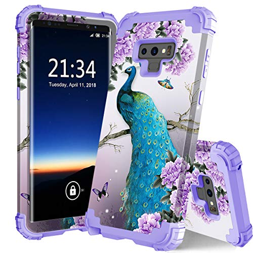 PIXIU Galaxy Note 9 case, Unique Pattern Heavy Duty Shockproof 3 in 1 hybird Rubber stury Full Body Protective case Cover Samsung Galaxy Note 9 2018 Released Peacock