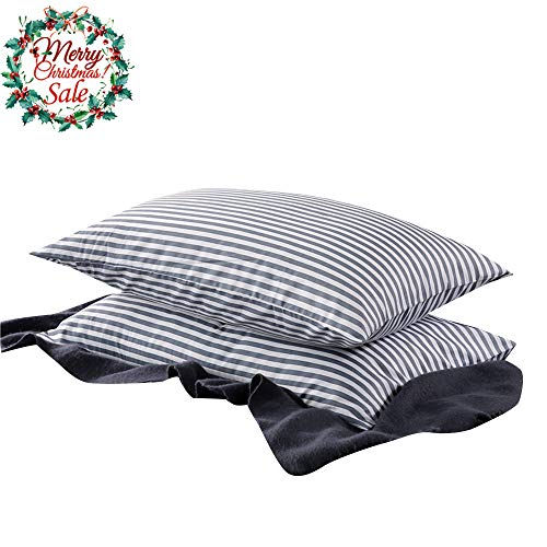 (VM VOUGEMARKET Bedding Cotton Striped Pillowcases (Pack of 2),Standard Queen Pillow Covers with Envelope Closure)