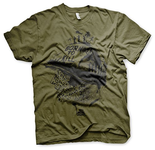 Officially Licensed Full Metal Jacket Sayings Men's T-Shirt (Olive), X-Large