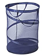 PRO-MART DAZZ Deluxe Large Mesh Spiral Laundry Pop Up Hamper with Handles, Blue