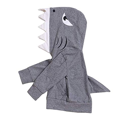 ZOELNIC Unisex Baby Autumn Winter Shark Hooded Sweatshirt Infant Boy Girl Hoodies with Kangaroo Muff Pockets& Shark Fin (Grey, -