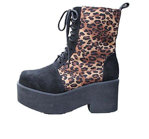 Avacostume Punk Lace-up Hoge Laarzen Van Luipaardprint Voor Dames