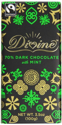 Divine Dark Chocolate Bar, Mint, 3.5 Ounce (Pack of 10)