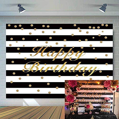 Allenjoy Black and White Stripe with Golden Dots 7x5ft Happy 30th 40th 50th Birthday Backdrop for Pictures Sweet 16 Adult Children Bday Party Banner Simple Atmospheric Background Photo Booth -