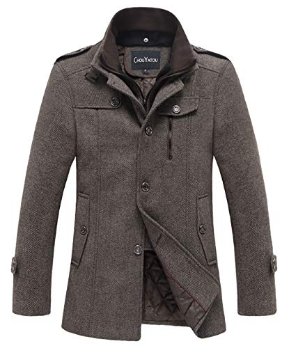 chouyatou Men's Winter Stylish Wool Blend Single Breasted Military Peacoat (Large, Thick-Khaki)