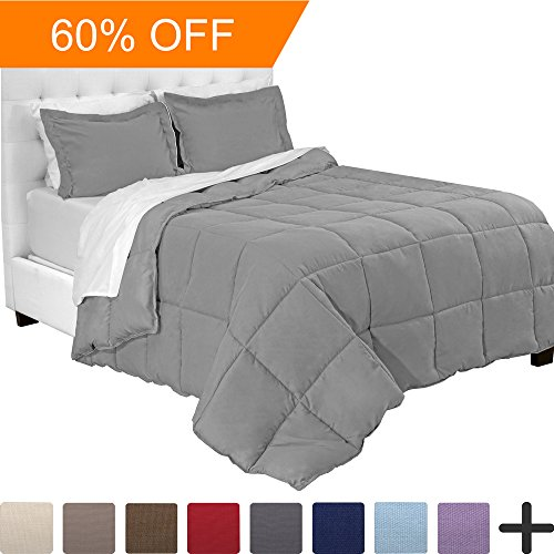 5-Piece Bed-In-A-Bag - Twin XL Extra Long (Comforter Set: Light Grey, Sheet Set: White)
