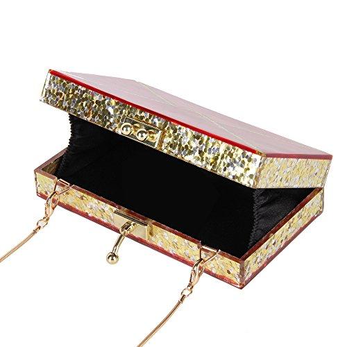 couleur Chaînette Longue Soirée Sacs Pochette à Sac avec Elégante de Femme 4 pour de 10 Soirée Main Couleur SS6fOx