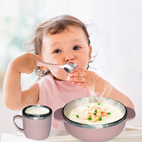5 Pieces Kids Dinnerware , Baby Mealtime Set for Healthy Infant Feeding Set, Eco-Friendly and BPA, Great Gift for Baby Showers, Birthdays & Preschool Graduations Shell Infant Feeding Spoon