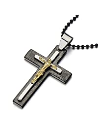 Mens Steel Jesus Christ Crucifix Greek Key Cross Pendant Necklace Black Silver Gold with 23 in Chain
