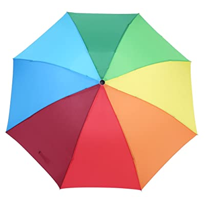 3 Folding Colorful Rainbow Umbrella Wind Rain Resistant Ladies Girls Umbrella