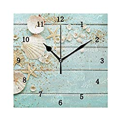 ZZKKO Beach Starfish Wall Clock, Silent Non Ticking Battery Operated Easy to Read Decorative Wall Clock for Kitchen Bedroom Bathroom Living Room Classroom