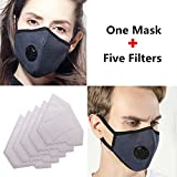 ZWZCYZ N99 Mask Anti Pollution Mask Washable Cotton Mouth Masks with Valve Replaceable Filter Masks Dust Air Mask for Pollution Smoke Allergy Mask with 5 Pcs PM2.5 Filter Couple masks (Navy)