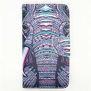 el patrón elefante cuero de la PU caso de cuerpo completo con soporte para Samsung Galaxy Note 4