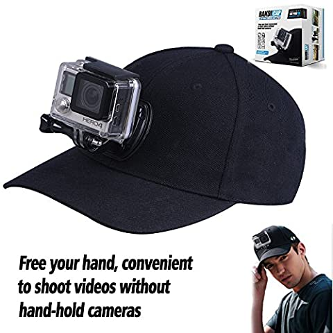 Baseball Hat for GoPro Hero 5/4/3+/3/2/1 with Quick Release Buckle Mount - No Straps on Your Head - One Size Fits All - Black Color
