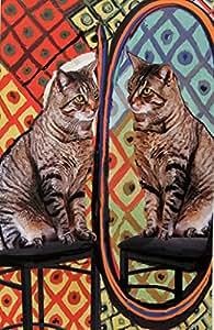 "Cat Art Print ""Cat Before a Mirror"" Pablo Picasso Parody, 8 1/2"" x 11"" Giclee Print, 11"" x 14"" Textured White Mat, by Deborah Julian (1)"