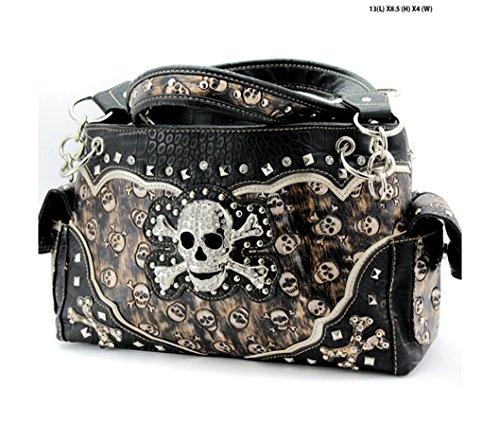Skull and Crossbones Embossed Concealed Carry Handbag Purse (Gold Embossed Handbag)