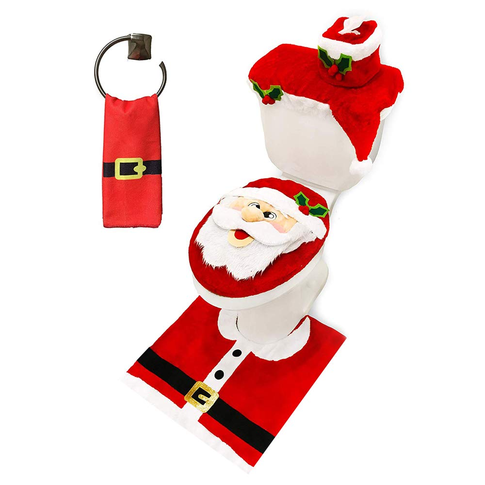 JOYIN 5 Pieces Christmas Santa Theme Bathroom Decoration Set Includes Toilet Seat Cover, Rugs, Tank Cover, Toilet Paper…