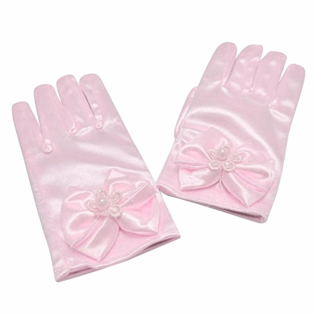 Kintaz Girls Gorgeous Satin Fancy Solid Gloves with Bow for Special Occasion Dress Formal Wedding Pageant Party Short (Pink)