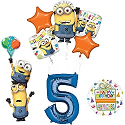 Despicable Me 3 Minions Stackers 5th Birthday Party Supplies and balloon Decorations