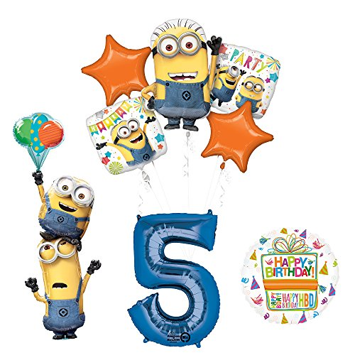 Despicable Me 3 Minions Stackers 5th Birthday Party Supplies and balloon Decorations]()