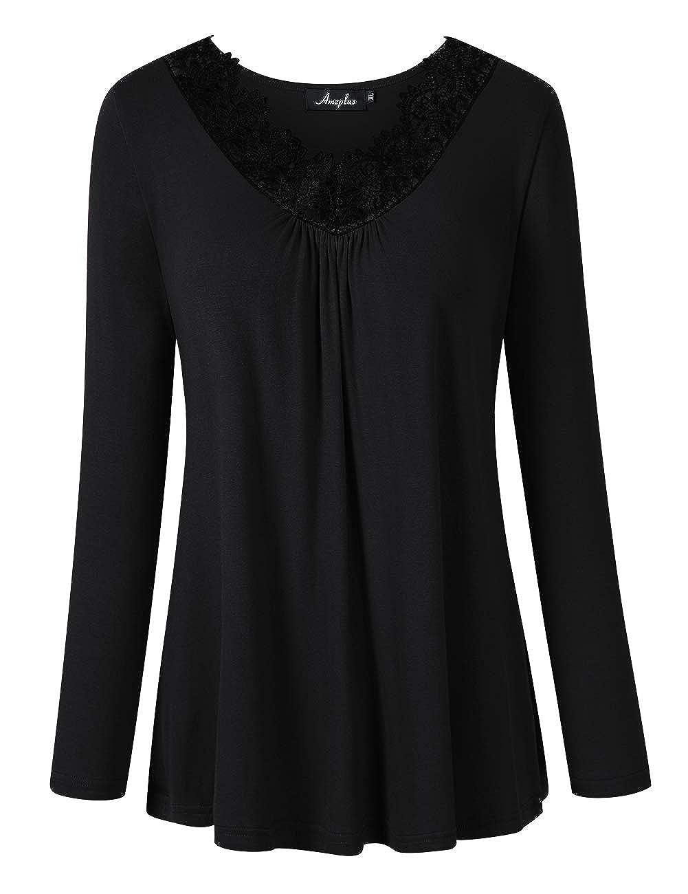 9ee04e446ad AMZ PLUS Women's Plus Size Long Sleeve Lace Stitching V Neck Blouse Tunic  Top at Amazon Women's Clothing store: