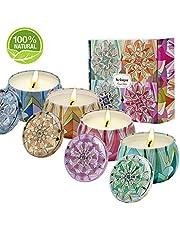 Kriogor Set di 4 Candela Profumata, Cera di Soia Naturale Candele Candle Confezioni Regalo per Aromaterapia, Massaggio, Alleviare Lo Stress