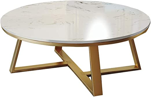 Dxjni 2 Piece Wrought Iron Coffee Table Marble Round Table