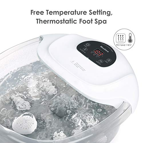 Foot Spa/Bath Soaker with Heat Bubbles Vibration and Massage Pedicure Manually Massager Professional Home Tired Feet Stress