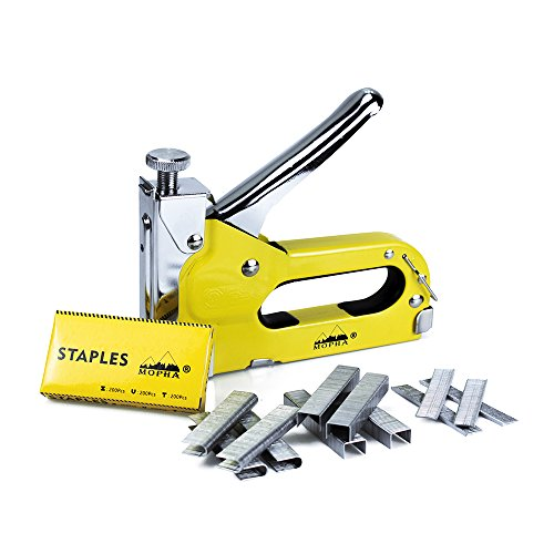 3 in 1 Staple Gun, Mopha Hand Operated Carbon Steel Brad Nailer with 600 Staples, Brad Nail Gun Tacker for Upholstery, FixingMaterial, Decoration, Carpentry, Furniture