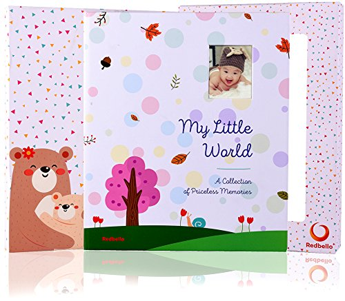 BABY MEMORY BOOK AND JOURNAL - FIRST 5 YEARS - 72 PAGES -100 PHOTO SPACES- MODERN BABY SHOWER GIFT AND KEEPSAKE FOR NEW PARENTS TO RECORD PHOTOS AND MILESTONES CUTE BABY SCRAPBOOK & ALBUM FOR BOY GIRL from Redbello