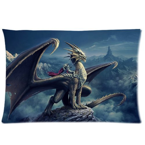 Dragon Pillowcase - personalized Home Bedding Pillowcase DIY Western Dragon Cool Picture For Children One Side Rectangle Pillowcases Standard Size 20x30-2