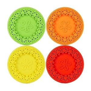 Joster Coasterica 2-in-1 Silicone Stemware Coaster and Glass Marker, Set of 4, Sunrise