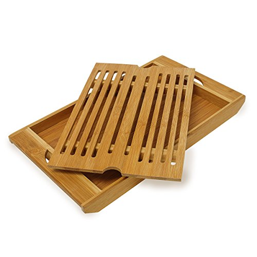Relaxdays Bamboo Chopping Board 3 x 37 x 21.5 cm Kitchen Cutting Board With Bread Crumb Collector Tray, Easy to Clean, Natural Brown