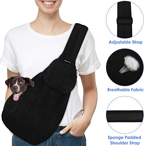 SlowTon Pet Carrier, Dog Cat Hand Free Sling Carrier Shoulder Bag Adjustable Padded Shoulder Strap Tote Bag with Front Pocket Safety Belt Outdoor Travel Puppy Carrier for Dogs Cats Walking Daily Use