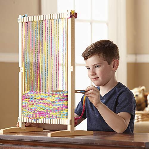 "5169UJ0vwkL - Melissa & Doug Wooden Multi-Craft Weaving Loom, Arts & Crafts, Extra-Large Frame, Develops Creativity and Motor Skills, 16.5"" H x 22.75"" W x 9.5"" L"