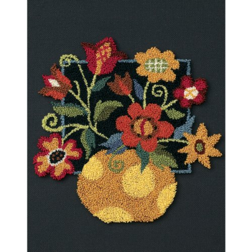 DIMENSIONS Floral on Black Punch Needle Embroidery Kit, 8