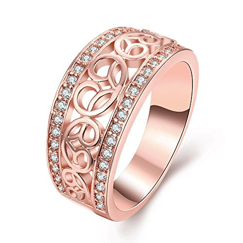 [The Classic Pattern Carved Rose Gold Plated Ladies Cubic Zirconia Ring] (Pink Lady Costume Images)