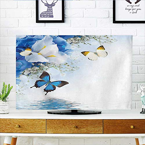 Auraisehome TV dust Cover and White Wild Flowers with Monarch Butterflies Lily Therapy Zen Spa Art Prints TV dust Cover W25 x H45 INCH/TV 47