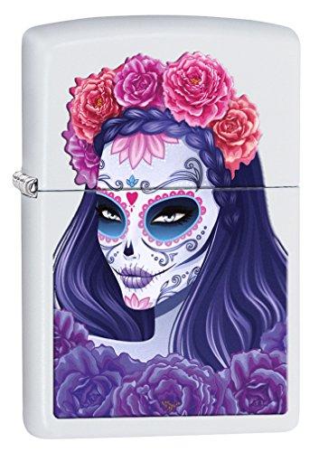 Zippo Lighter: Day of the Dead Girl - White Matte 78258