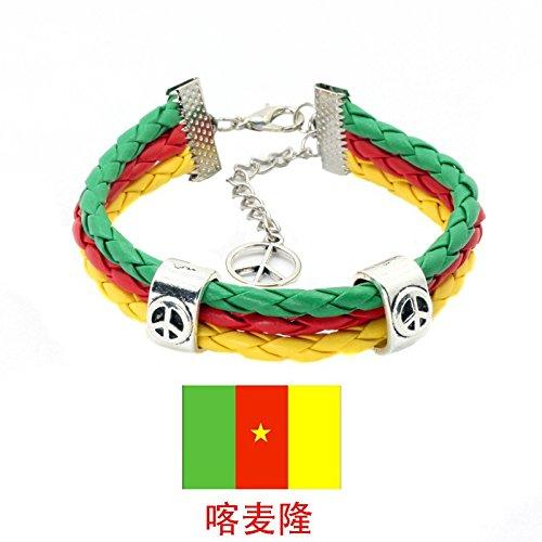 (Sykdybz Woven Leather Cord Bracelet Pu Leather Chain Bracelet National Flag Commemorative Edition,Cameroon)