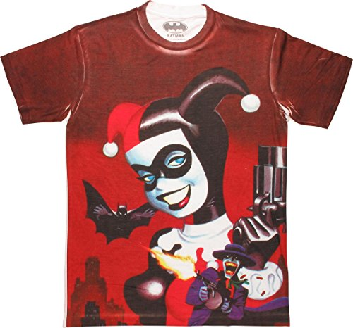 Harley Quinn Sublimated Pistol Tee Shirt Medium ()