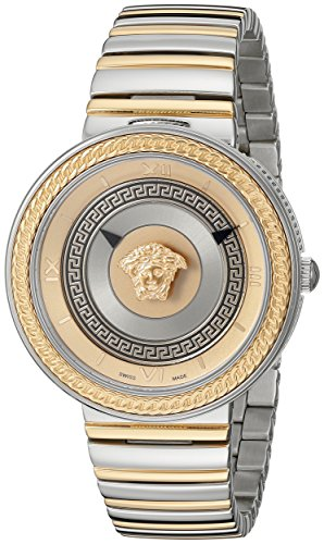 Versace Women's VLC080014 V-METAL ICON Analog Display Swiss Quartz Two Tone - V Versace