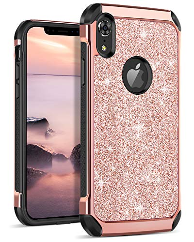 DOMAVER iPhone XR Case Glitter Bling Slim Dual Layer Hybrid Shockproof Hard Back Durable Bumper Protective Phone Case Cover for iPhone XR 6.1 Inch, Rose ()