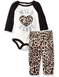Baby Girls' 2 Piece Rear Snap Bodysuit and Velour Legging Set